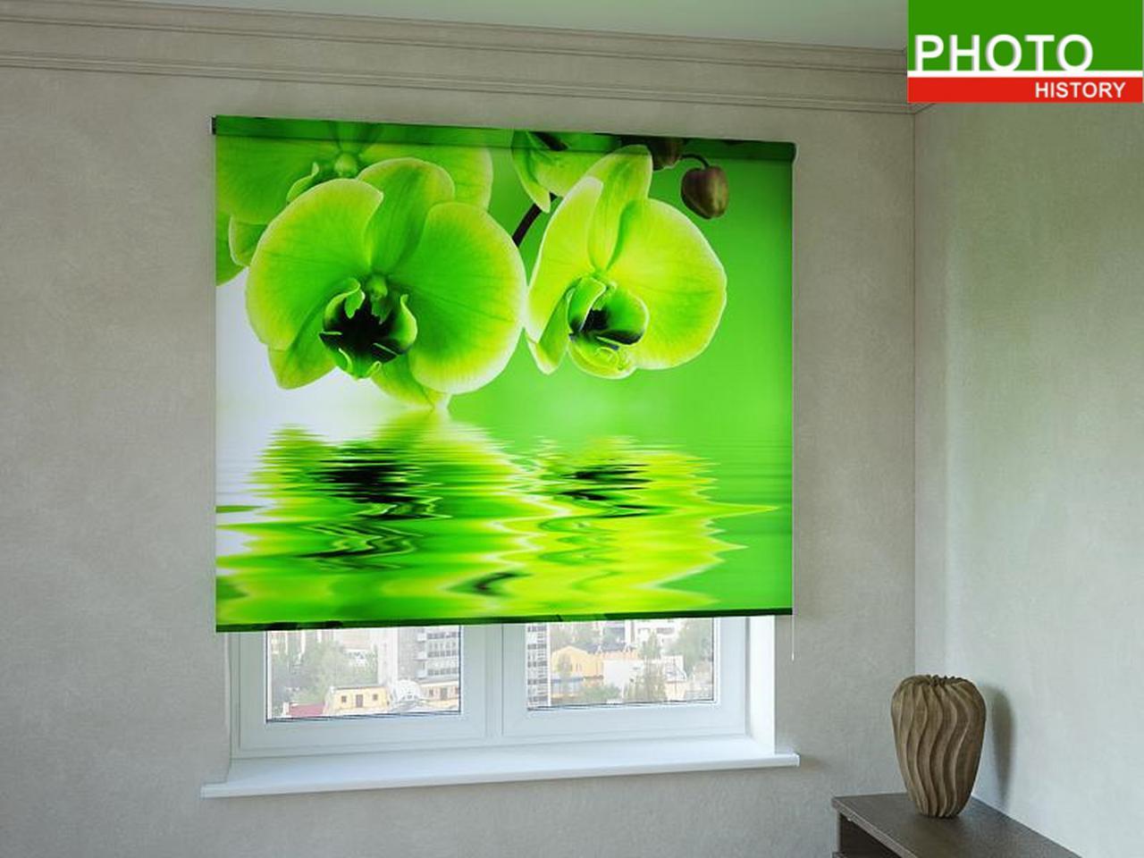 Рулонные шторы с фотопечатью салатовая орхидея