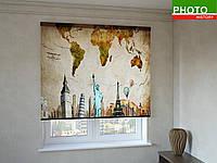 Рулонные шторы с фотопечатью рисунок на карте