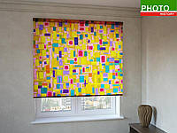 Рулонные шторы с фотопечатью мультяшные квадратики