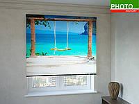 Рулонные шторы с фотопечатью качели на пляже