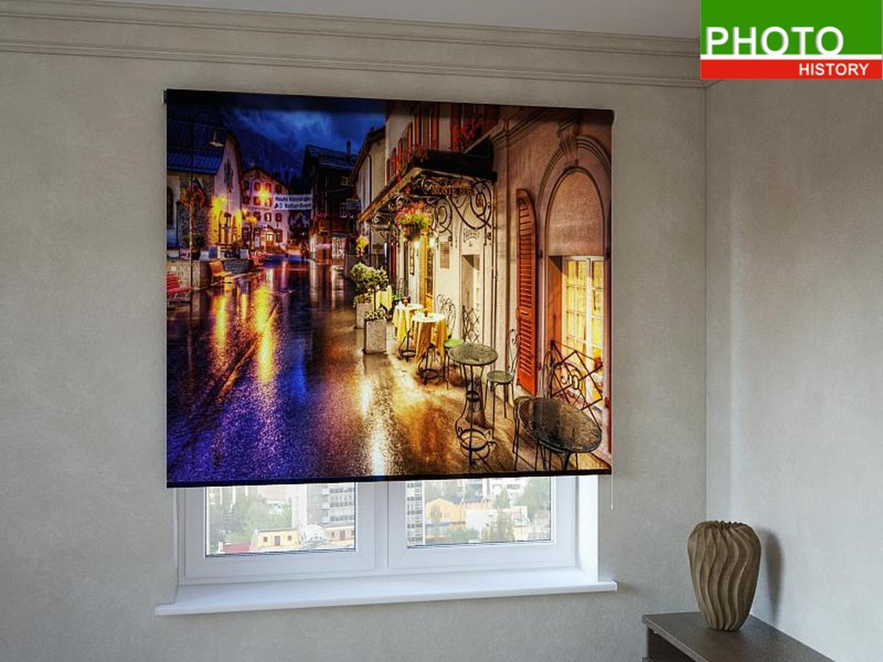 Рулонные шторы с фотопечатью ночное кафе