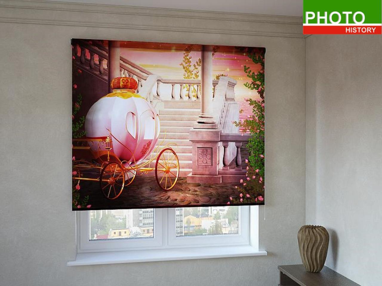 Рулонные шторы с фотопечатью карета Золушки