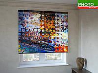 Рулонные шторы с фотопечатью абстракция стекла