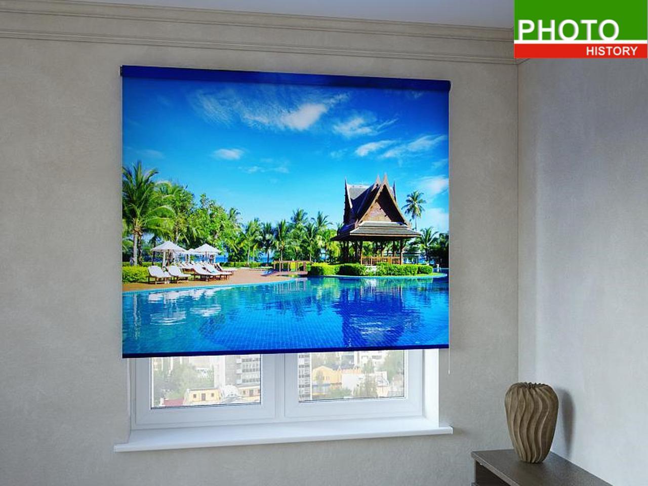 Рулонные шторы с фотопечатью райский бассейн