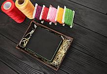 Мужской кожаный бумажник ручной работы VOILE mw1-blk-grn, фото 3