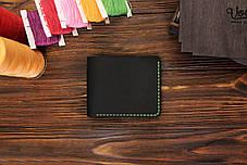 Мужской кожаный бумажник ручной работы VOILE mw1-blk-grn, фото 2
