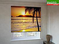 Рулонные шторы с фотопечатью пальма на закате
