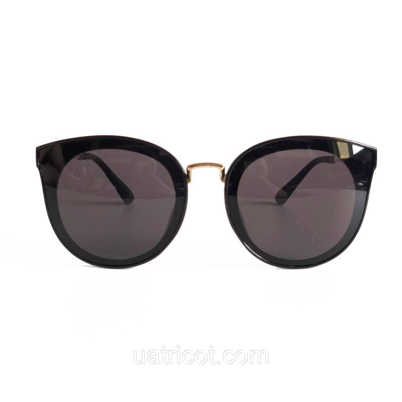 Женские солнцезащитные очки Сat eye с чёрными линзами