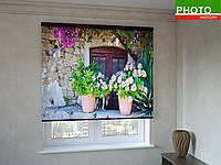 Рулонные шторы с фотопечатью вазоны с цветами