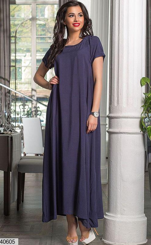 fec3b217011ef6e Летнее длинное платье свободное короткий рукав синее: продажа, цена ...
