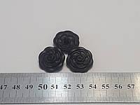 Фигурные пуговицы в виде розы, черный цынковый сплав, диаметр 18мм, для пальто, жакетов,костюмов, плащей., фото 1
