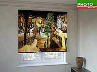Рулонные шторы с фотопечатью Новогодняя улица