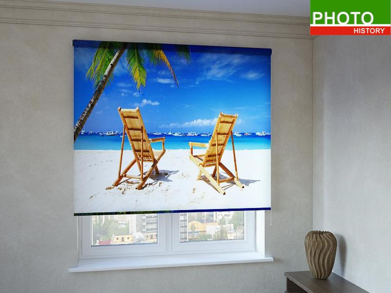Рулонные шторы с фотопечатью пляж для двоих