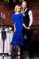 Платье женское нарядное синего цвета, платье длинное по фигуре, фото 1