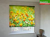 Рулонные шторы с фотопечатью ромашки оранжевые