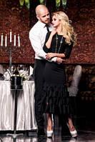 Платье женское нарядное чернрго цвета, платье длинное по фигуре, фото 1
