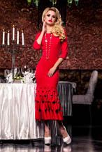 Сукня жіноча ошатне червоного кольору, довге плаття по фігурі