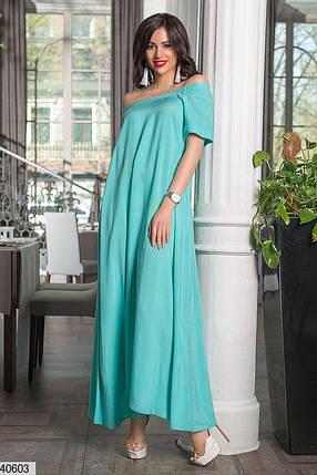Нарядное платье макси свободное с коротким рукавом ментоловое, фото 2