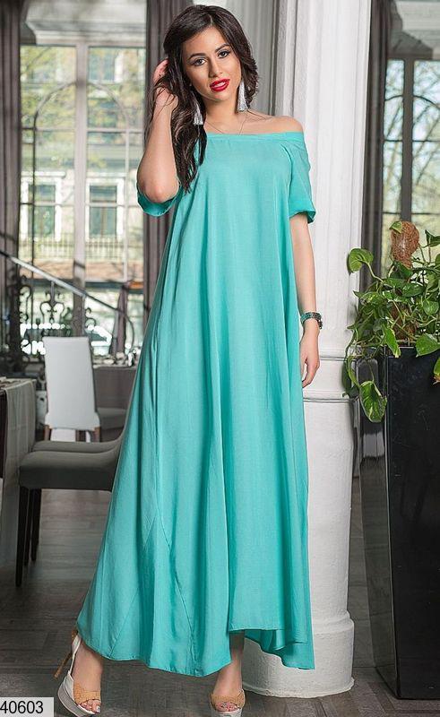 Нарядное платье макси свободное с коротким рукавом ментоловое
