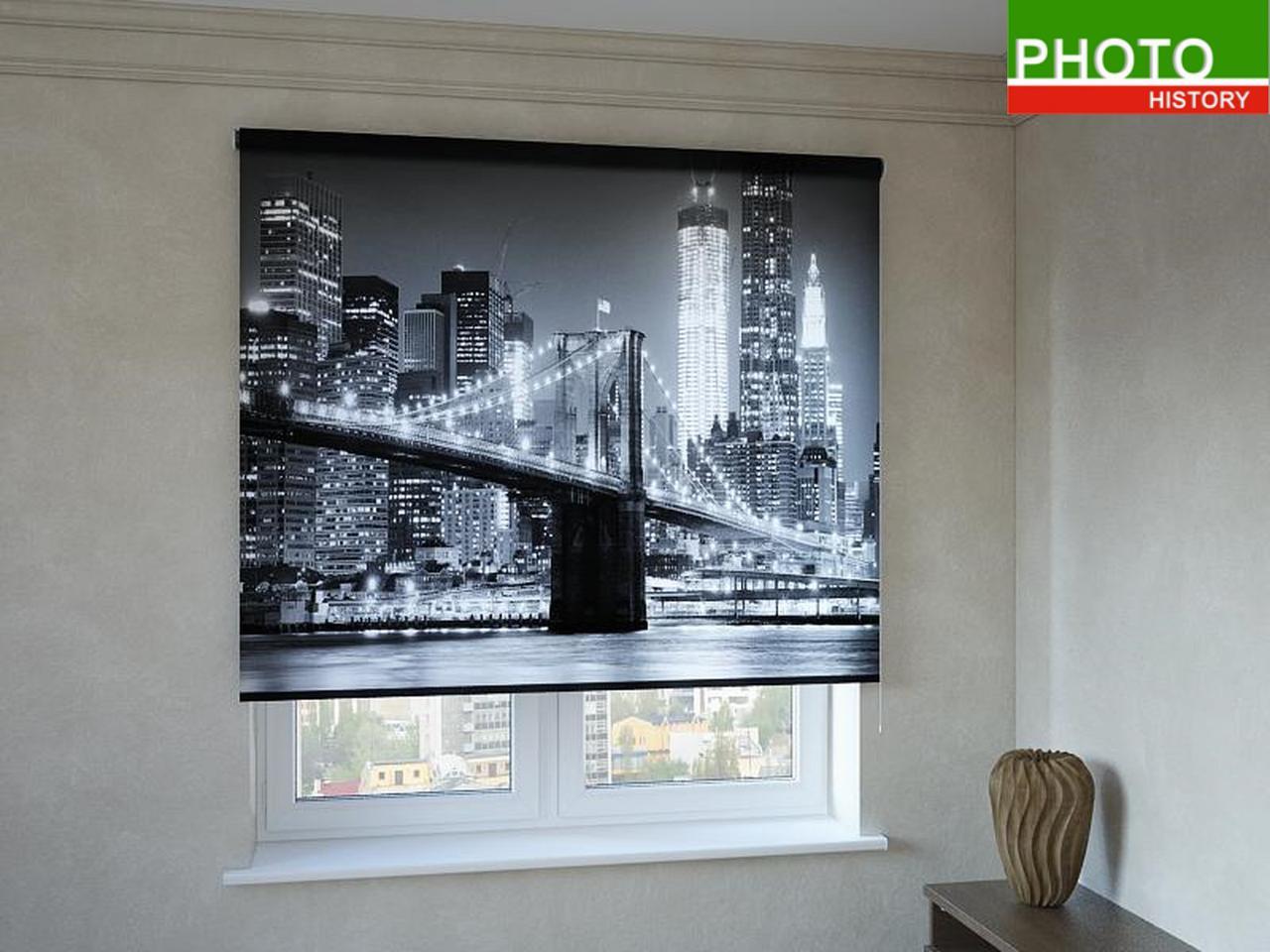Рулонные шторы с фотопечатью черно-белый Нью-Йорк