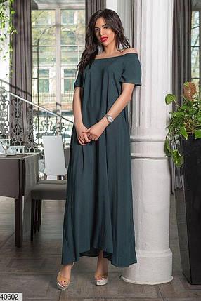 Красивое платье свободное длинное короткий рукав штапель зеленое, фото 2