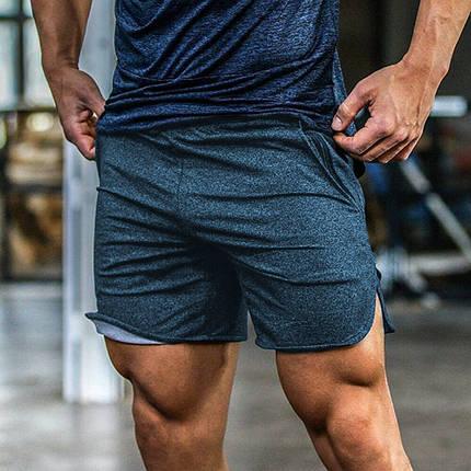Спортивные мужские шорты синего цвета с вырезом, фото 2