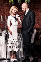 Платье женское нарядное белого цвета, платье длинное по фигуре