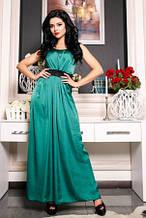 Сукня вечірня довга в підлогу, плаття бірюзового кольору з мереживною спинкою без рукова