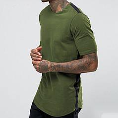 Стильна чоловіча подовжена футболка хакі