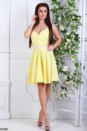 10d38fa30b4 Летнее платье короткое юбка солнце клеш без рукав с жемчугом желтое ...
