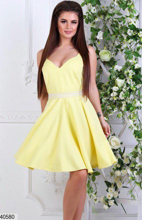 3542da1a3ff Летнее платье короткое юбка солнце клеш без рукав с жемчугом желтое -