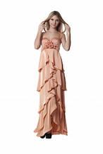 Вечірнє плаття-бюстьє на тонких бретелях довге в підлогу персикове,ошатне, святкове новорічне