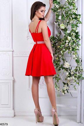 e683fc4d37a1776 Нарядное платье мини юбка свободная на поясе жемчуг ярко красное, фото 2