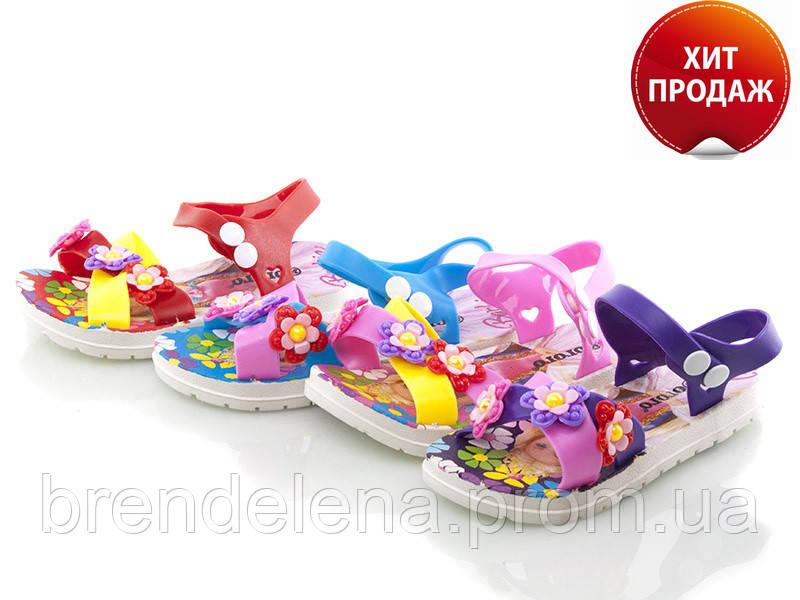Яскраві силіконові босоніжки для дівчинки р(35-19,5см) маломірки.