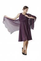 Платье женское шифоновое сиреневого цвета с шалью, нарядное, вечернее, с пышной юбкой, праздничное, фото 1