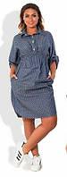 Платье джинсовое в мелкий горошек норма   никн401, фото 1