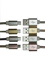 """Шнур компьютерный """"Tcom"""", штекер USB А - штекер miсro USB, металлическая изоляция,Ø 4,5мм, 1м"""