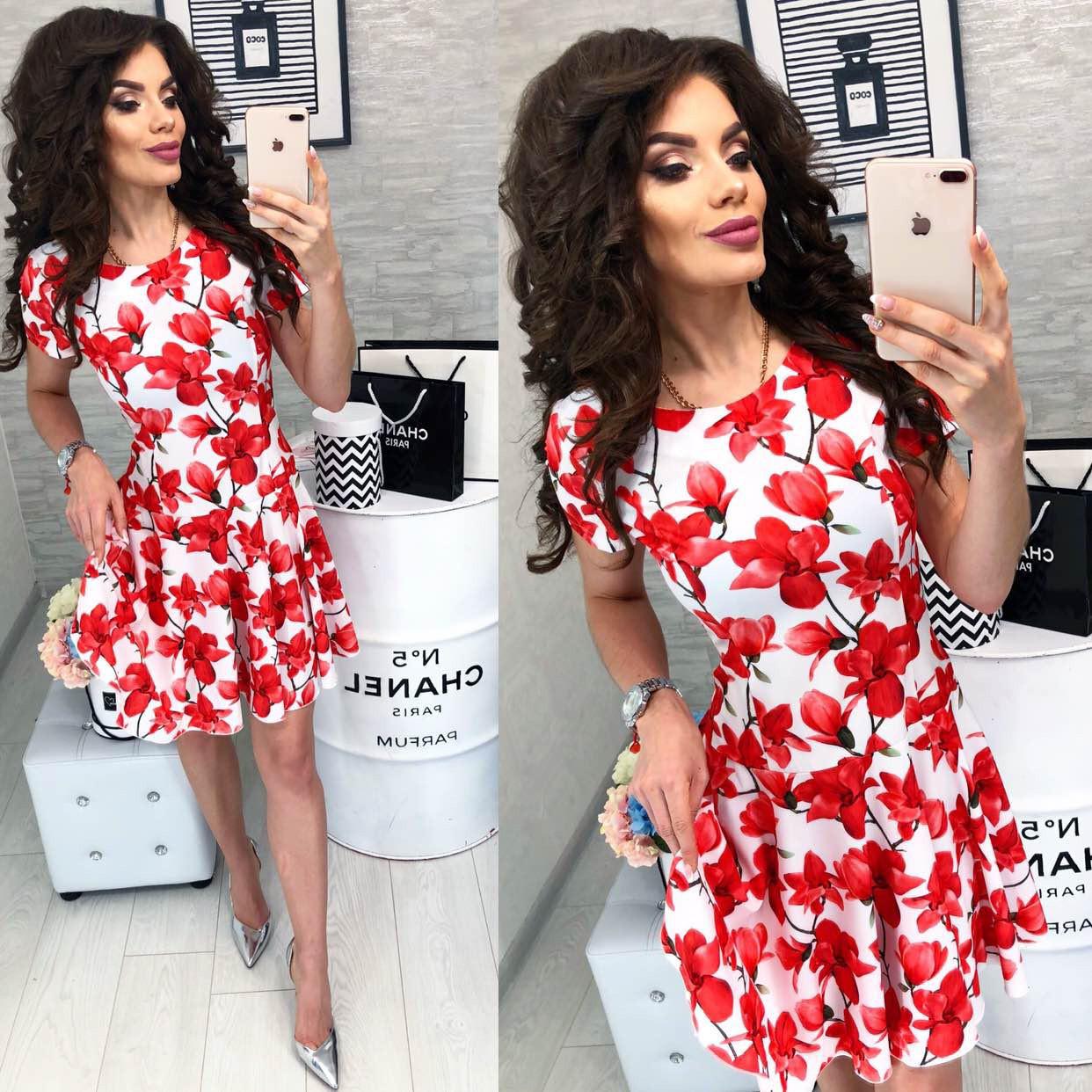 Платье летнее, новинка 2018, модель 103, принт - красные цветок на белом