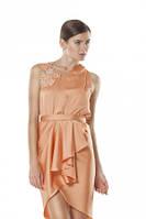 Коктейльное платье с асимметричным вырезом горловины персик, вечернее, нарядное, молодежное, фото 1