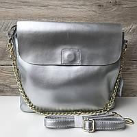 Женская кожаная сумка планшет серебро золото, фото 1