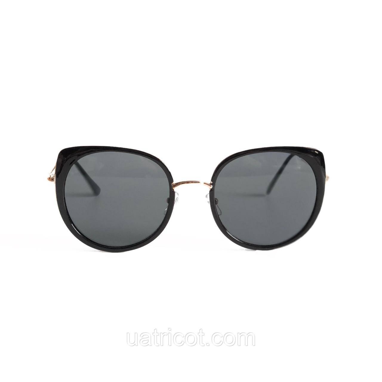 Женские солнцезащитные очки Oversize Cat Eye с чёрными линзами