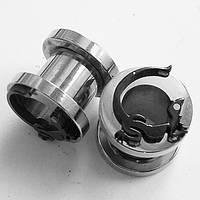 """Тоннель """"Ящерица"""" для пирсинга ушей, диаметр 8 мм. Медицинская сталь., фото 1"""