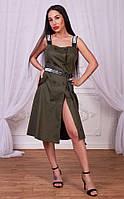 Стильное и модное женское платье цвета хаки , фото 1