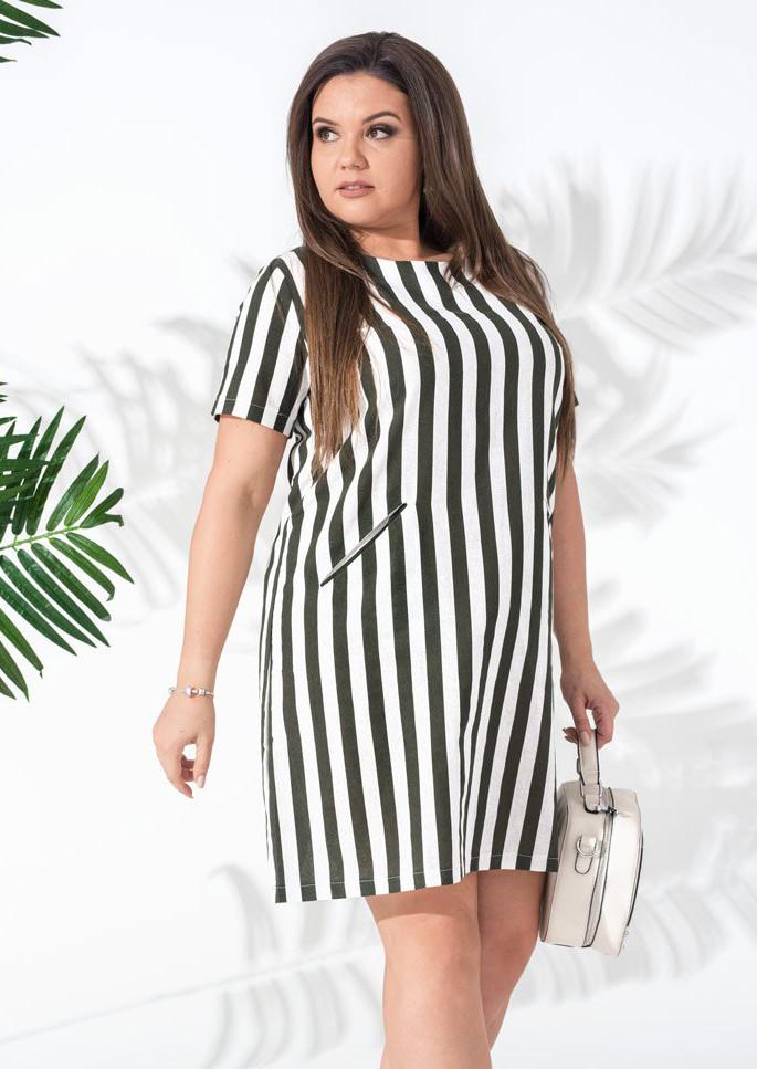 4adf1d60155 Женское летнее платье в полоску зеленого цвета. Модель 18040. Размеры 42