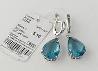 Сережки срібло серьги серебро 22319 голубий