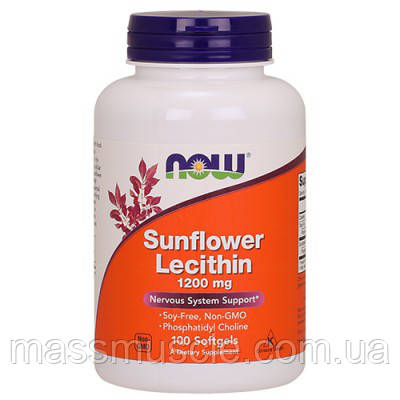 Подсолнечный лецитин NOW Foods Sunflower Lecithin 1200mg 100 softgels