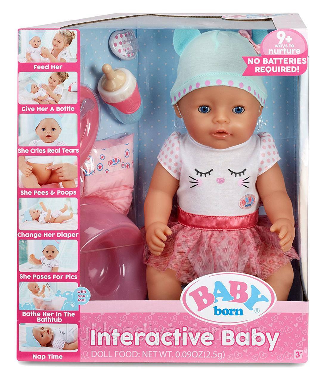 Baby Born Interactive Baby Doll Интерактивная Кукла Пупс Голубые Глаза