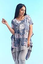 """Летний женский брючный костюм """"OSTIN"""" с асимметричной блузой в цветочек (большие размеры), фото 2"""