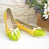 Женские балетки из натуральной кожи зеленого и желтого цвета, фото 2