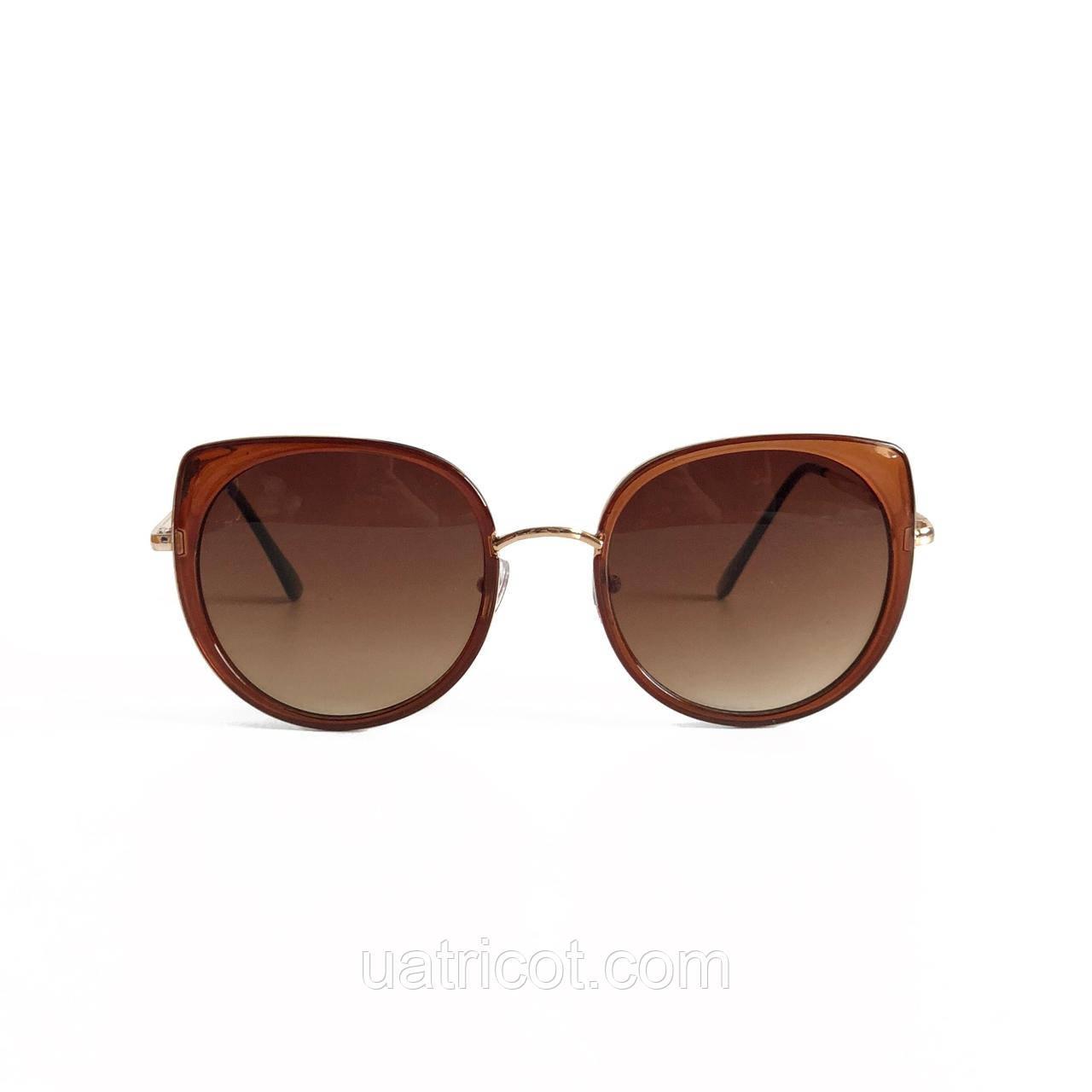 Женские солнцезащитные очки Oversize Cat Eye с коричневыми линзами